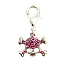 Skull D-Ring Pet Collar Charm by FouFou Dog - Pink