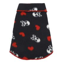 Skulls and Hearts Fleece Dog Pullover - Black