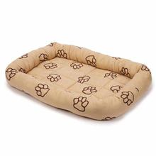 Slumber Pet Embroidered Paw Print Crate Bed - Camel