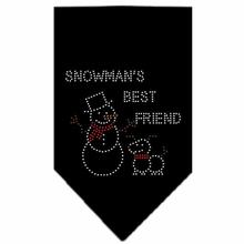 Snowman's Best Friend Rhinestone Dog Bandana - Black