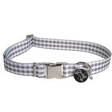 Southern Dawg Gingham Dog Collar by Yellow Dog - Gray