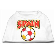 Spain Soccer Print Dog Shirt - White