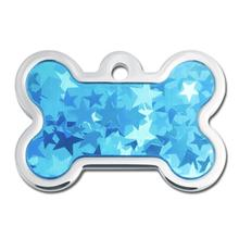 Star Hologram Bone Large Engraveable Pet I.D. Tag - Blue
