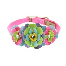 Tinkie Fantasy Flower Dog Collar by Susan Lanci - Perfect Pink