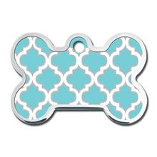 Trellis Bone Large Engraveable Pet I.D. Tag - Turquoise