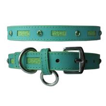Inlaid Leather Dog Collar - Turquoise with Green