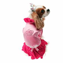 Velvet Princess Dog Costume Dress - Magenta with Tiara