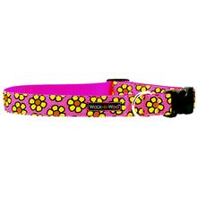 WaLk-e-Woo Yellow Daisies on Pink Dog Collar