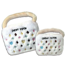 White Chewy Vuiton Purse Plush Dog Toy