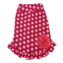 White Polka Dot Dog Pullover Dress - Hot Pink