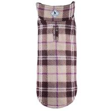Worthy Dog Fargo Fleece Dog Jacket - Brown/Purple Checkered Plaid