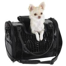 Zack & Zoey Croco Pet Carrier Tote - Black