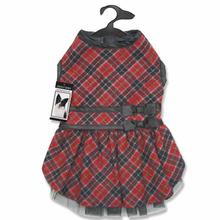 Zack and Zoey Diamond Plaid Dog Dress - Red