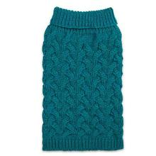Zack and Zoey Elements Chunky Cable-Knit Dog Sweater - Blue
