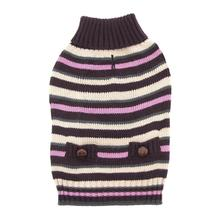 Zack and Zoey Elements Derby Stripe Dog Sweater - Purple