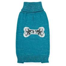 Zack and Zoey Elements Sequin Bone Dog Sweater - Blue