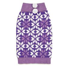 Zack and Zoey Elements Snowflake Dog Sweater - Purple