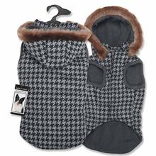 Zack and Zoey Gray Houndstooth Dog Coat