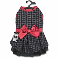 Zack and Zoey Gray Houndstooth Dog Dress