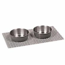 Zack and Zoey Lifestyle Stay-On Mat Dining Trios - Carbon Gray