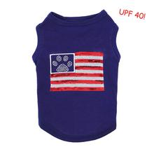 Zack and Zoey Sequin Flag Dog Tank with UPF 40 - Blue