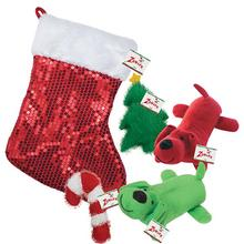 Zanies Holiday Sequin Stocking and Dog Toys