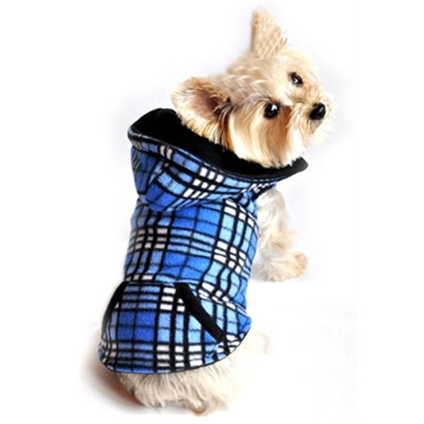 4 in 1 Fleece Dog Hoodie and Vest Combination - Blue Plaid