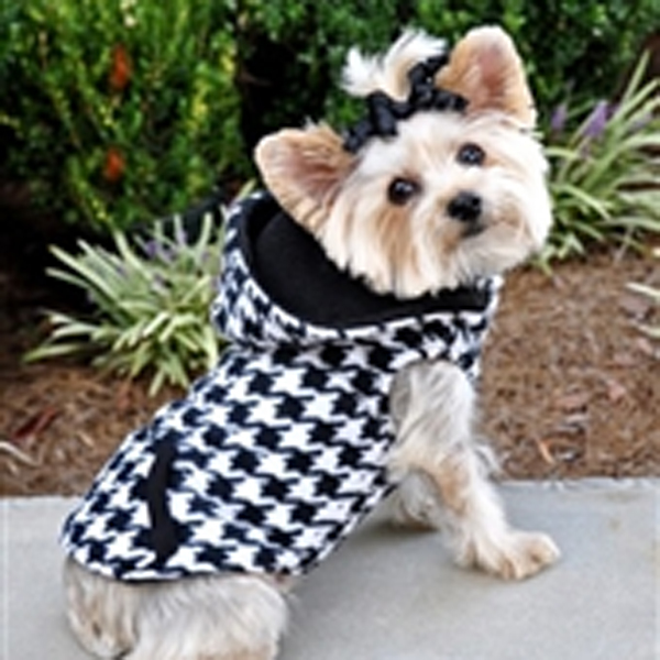 4 in 1 Fleece Dog Hoodie and Vest Combination - Houndstooth
