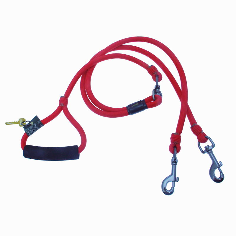 Alpine Two Dog Leash - Red