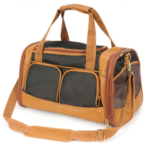 Amelia Collection Dog Carrier - Black w/ Tan Trim