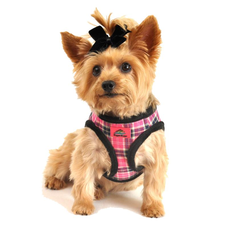 American River Choke Free Dog Harness - Pink Plaid and Black Minky Fur