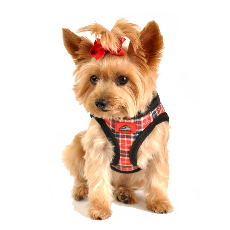 American River Choke Free Dog Harness - Red Plaid and Black Minky Fur