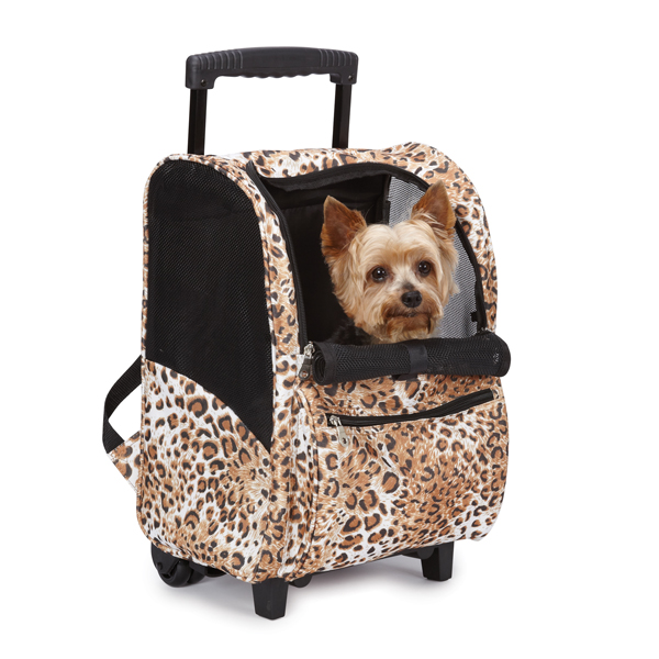 Animal Print Backpack Dog Carrier on Wheels - Cheetah