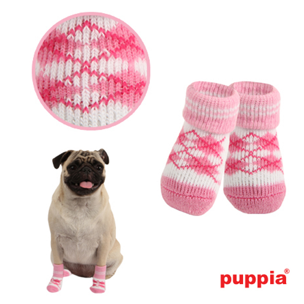 Argyle Dog Socks by Puppia - Pink
