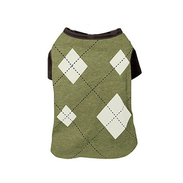 Argyle Dog T-Shirt - Green