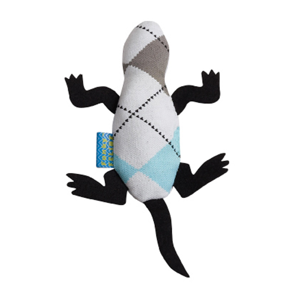 Argyle Lizard Cat Toy - Blue