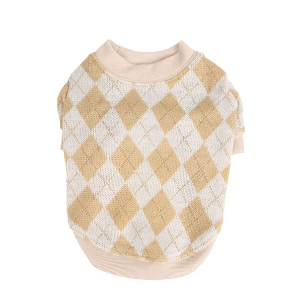 Argyle Mode Dog Sweatshirt by Puppia - Beige