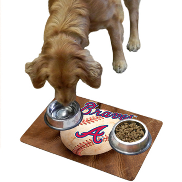 Atlanta Braves Pet Bowl Mat