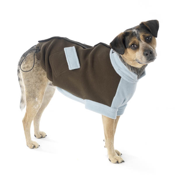 Attitash Fleece Dog Jacket - Brown & Light Blue