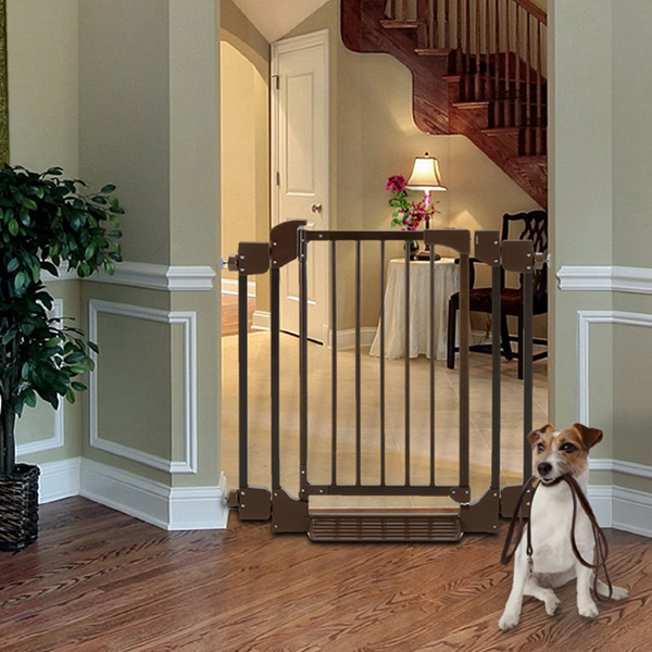 Auto Deluxe Wood Pet Gate - Coffee Brown