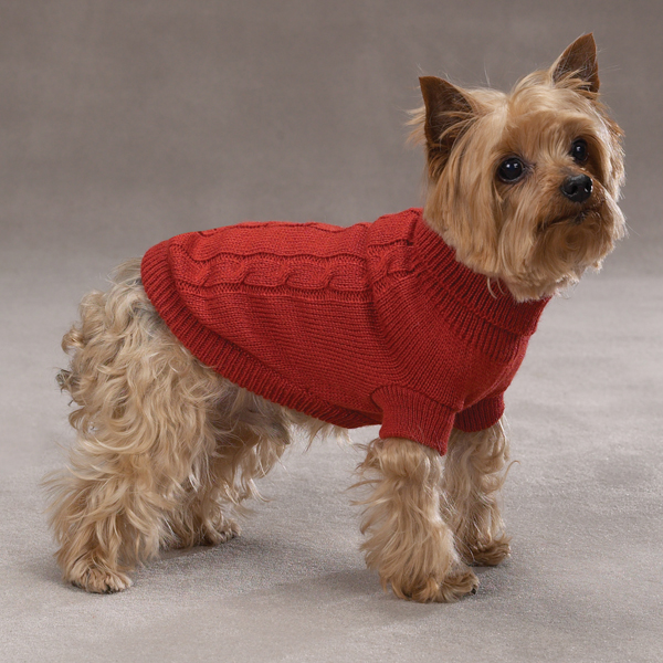 Basic cable knit dog sweater rust baxterboo - Knitting for dogs sweaters ...