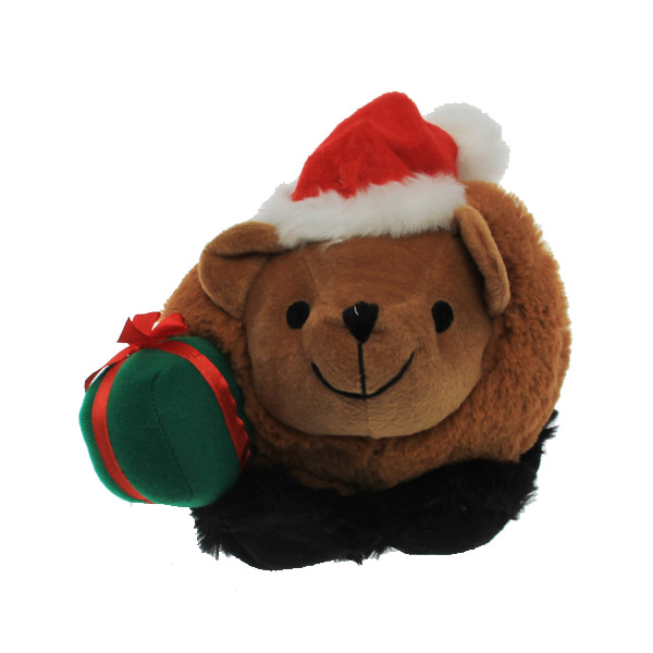 Holiday Bear Tough Ball Dog Toy with Chew Guard