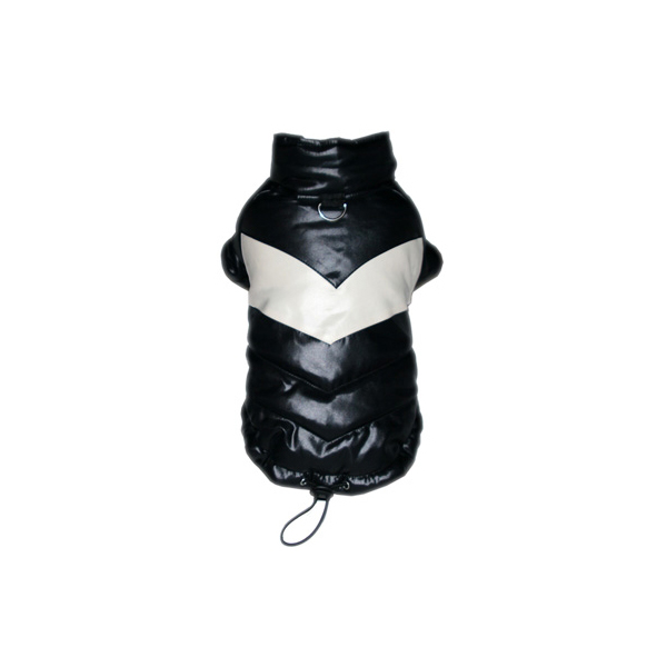 Black Puffy V Dog Coat by Hip Doggie