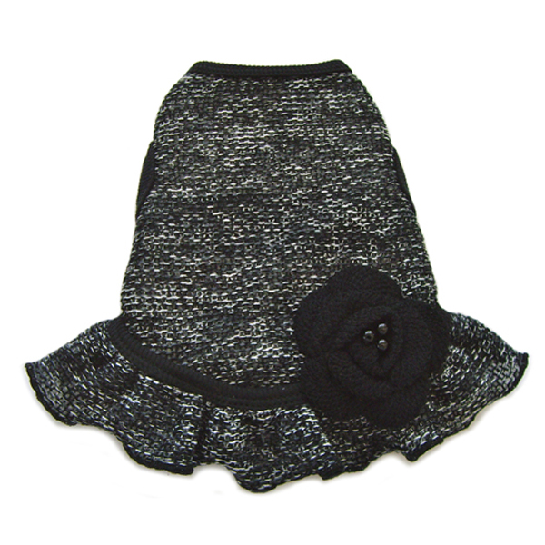 Black Sweater Knit Dog Dress