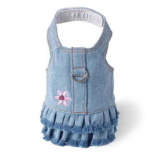 Blue Jean Denim Flower Dress Harness by Doggles