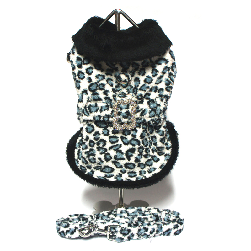 Blue Leopard Harness Dog Coat