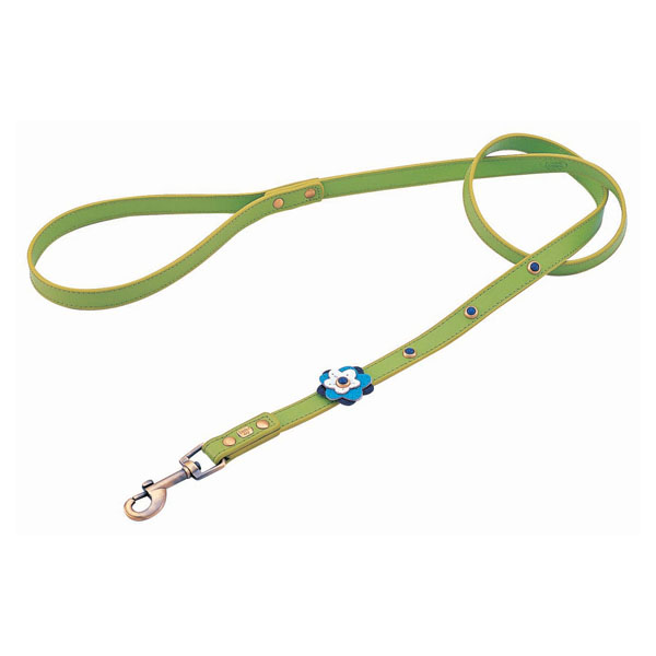 Blue Petal Leather Dog Leash - Green