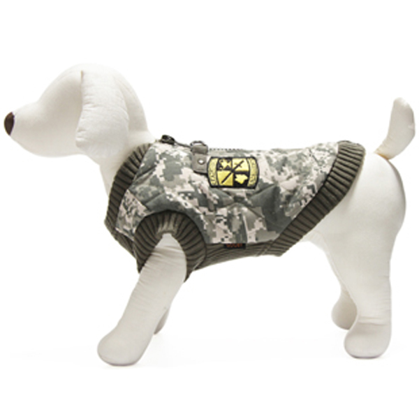 Bomber Camo Dog Vest - Green Trim