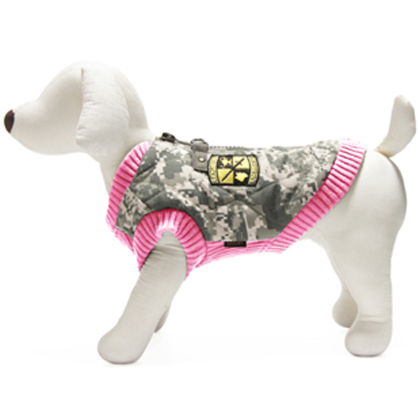 Bomber Camo Dog Vest - Pink Trim