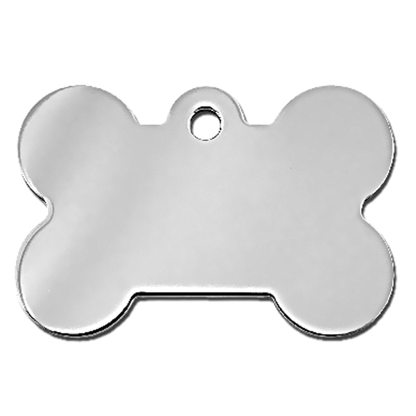 Bone Large Engravable Pet I.D. Tag - Chrome
